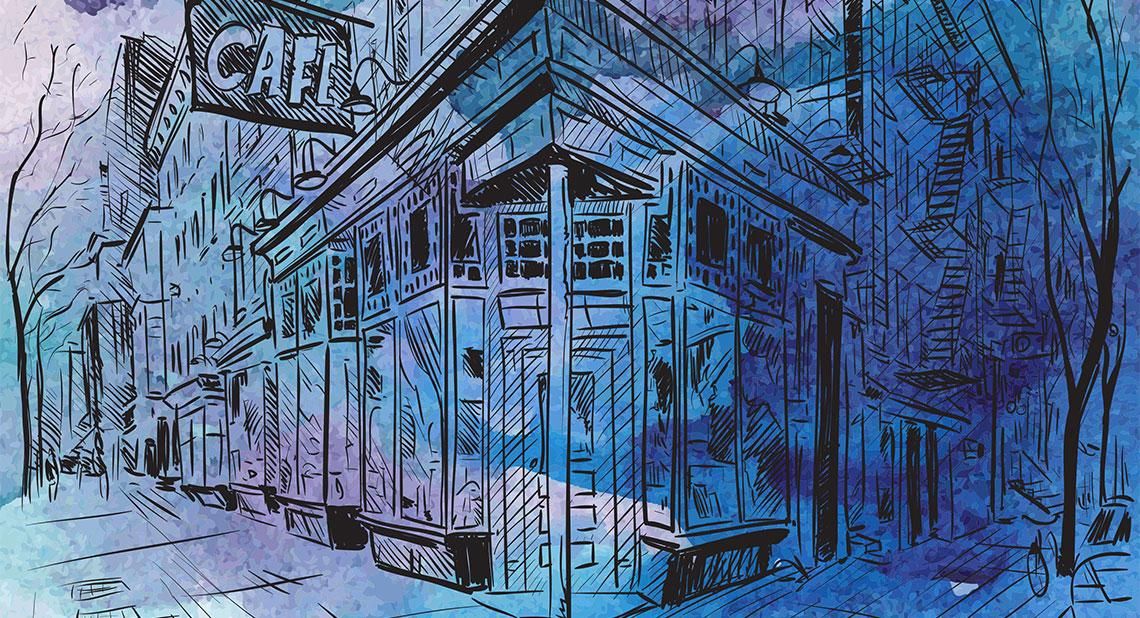 a blue tinted watercolor of a New York street