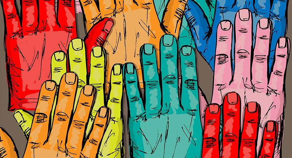a collage of multi-colored hands
