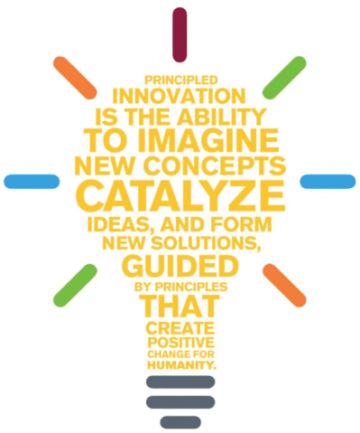 Principled innovation is the ability to imagine new concepts, catalyze ideas, and form new solutions, guided by principles that create positive change for humanity.
