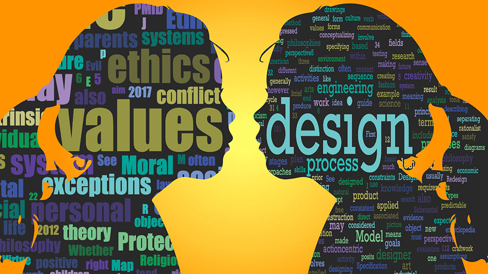"""Reflecting on Principled Innovation & Design. Word clouds created from the Wikipedia page for """"Values"""" (left profile) and """"Design"""" (right profile)."""