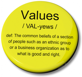 A yellow button with the definition of Values